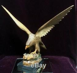 American Eagle Sculpture Figure Statue Hand Carved Wood 19H