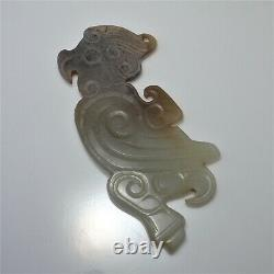 Ancient Jade Pendant Bird Eagle Shang Archaic Chinese Hand Carved Cameo Artifact