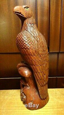 Antique 11 Hand Carved Wooden German Falcon Eagle With Glass Eyes Figure Statue
