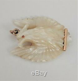 Antique 14k Solid Gold Hand Carved Mother OF Pearl Perched Eagle Pendant