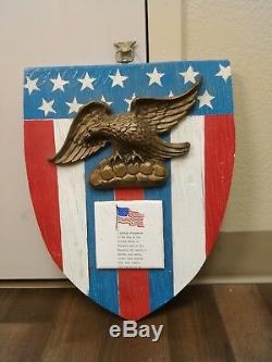 Antique Folk Art Hand Carved Wood American Eagle Sign Flag Plaque Peace Vtg