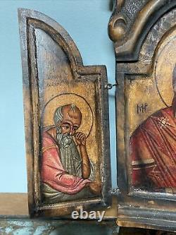 Antique Greek Orthodox Hand Carved painted Wood Icon Triptych Mary Eagle