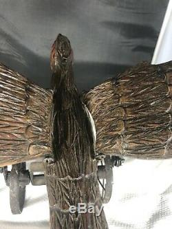 Antique Hand Carved Mechanical Wooden Eagle Push Toy With Flapping Wings