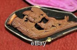 Antique Hand Carved Meerschaum Pipe Eagle wolves scene Amber in Original Case