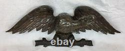 Antique Hand Carved Oak Spread Eagle, Wall Plaque, Hanging Crest, Black Forest