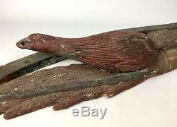 Antique Hand Carved & Polychrome Bellamy Style American Eagle & Shield Folk Art