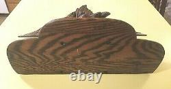 Antique Hand Carved Solid Oak Wall Mount Clock Shelf Eagle, Fruit, Nuts 21T