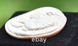 Antique Hebe & Zeus As A Eagle Fine Hand Carved Angel Skin Coral Shell Cameo Art