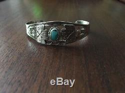 Antique Navajo Bracelet Fred Harvey Era Hand Carved 1940s Snakes Arrows Eagle
