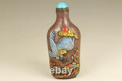 Antique Old glaze hand carving eagle figure statue snuff bottle noble gift