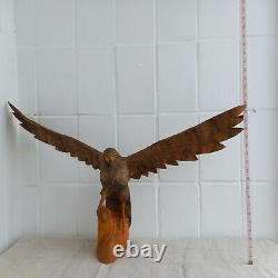 Antique Vintage Wooden Hand Carved Hawk Eagle HandMade