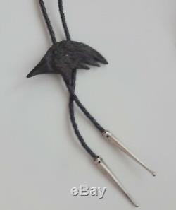 Antique Vtg Hand Carved Black Eagle Crow Bird Head Bolo Tie Unique