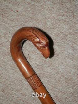 Antique Walking Stick Hand-Carved Eagle Head Handle & Engraved Shaft 94cm