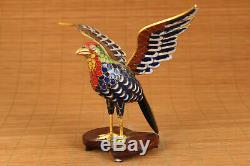 Antique collection cloisonne hand painting eagle statue figue netsuke decoration