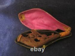 Antique hand carved Meerschaum ladies pipe hunting dog Eagle orig. Case RARE