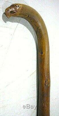 Antique hand carved folk art EAGLE HEAD handle cane walking stick. Patriotic