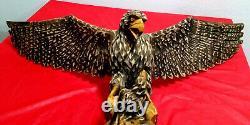 Antique wooden eagle hand carved in WESTERN UKRAINE UNDER USSR