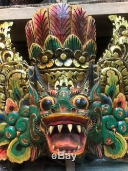 Art Tiki Hindu Mask Garuda Eagle Dragon Buddha Decor Bali Wood Hand Carved Paint