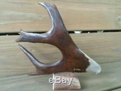 B. MERRY 9 x 8 CARIBOU ANTLER HAND CARVED EAGLE FIGURE DISPLAY RARE DEER GIFT