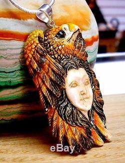 Bali Artisan Hand Carved Bovine Bone Hand Painted Bald Eagle Pendant