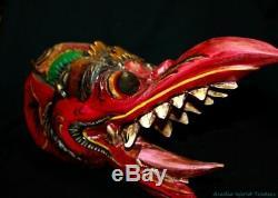 Balinese Garuda Eagle Mask Hand Carved Polychrome wood Bali Wall Art Red
