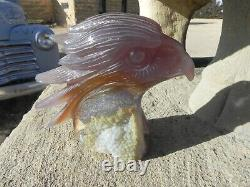 Beautiful Blue Agate Eagle Translucent Druze All Natural 5 1/4 Tall Hand Carved