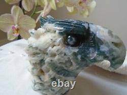 Beautiful quality Moss Agate hand carved eagle head with druzy, 734 grms 120 mm