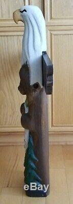 Big Sky Carvers LARGE Totem Bald Eagle Bear Fish Tree Hand Carved Wood 37 TALL