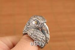 Big chinese old 925silver hand carved eagle fashion ring