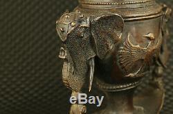 Big old Chinese bronze hand cast eagle statue censer unique decoration collect