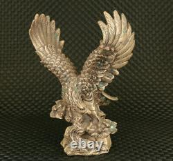 Big rare old copper hand carving eagle figure Statue table decoration