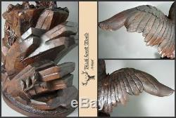 Black forest carved wood eagle handcarved glass eyes 19th century