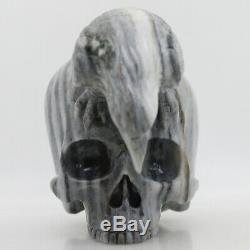 Black white stripe stone Hand Carved Eagle Skull Crystal Healing Realistic K793