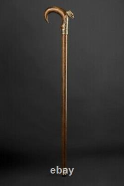 Bronze Eagle Exclusive Vintage Cane, Hand Carved Wooden Walking Stick for Gift