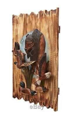 Buffalo Eagle Ducks And Pheasant Wood Carving Wall Art Cabin Rustic Decor