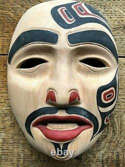 Carol Young (Bagshaw) Haida Eagle Clan Hand Carved Painted Signed Cedar Mask'09