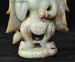 China Chinese Hetian jade Hand carved Winged Garuda Bird Eagle Buddha Statue