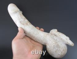 China Hongshan Cutrue Old Jade Stone hand-Carved penis and eagle Statue 1732g
