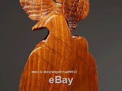 China Padauk Wood Hand Carved FengShui Eagle Hawk Bird Animal Statue
