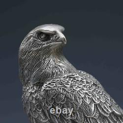 China antique copper silvering hand carving bird eagle Statue a285