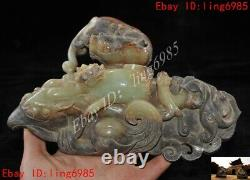China dynasty Hetian jade hand carved eagle brave troops beast Sacrifice statue
