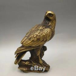 Chinese Antique Brass Hand carving Eagle statue a830