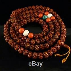 Chinese Antique Tibetan Buddhism hand-carved eagle bone beads Bracelet necklace