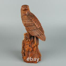 Chinese Exquisite Hand carved Eagle Carving Boxwood Statue