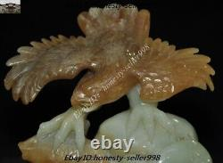 Chinese Fengshui Hetian jade Hand Carved Bird king hawk eagle Catch fish Statue