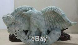Chinese Precious 100% Jadeite Emerald Jade carved Fengshui Success Eagle Statue