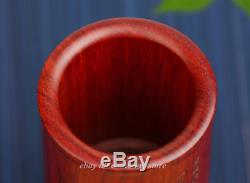 Chinese Rosewood Hand-carved Hawk Eagle Bird Plum Blossom Brush Pot Pencil Vase