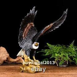 Chinese art deco pure Bronze Handpainted hawk eagle falcon shikra bird sculpture
