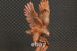 Chinese boxwood 100% hand carving eagle statue figure collection Art