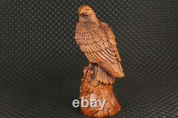Chinese old boxwood hand carved eagle statue figure collectable